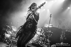 Girlschool @ Le Trianon, Paris | 14/11/2016 (Philippe Bareille) Tags: enidwilliams bassist bassplayer backvocals monochrome blackandwhite bw girlschool hardrock classicmetal heavymetal paris france letrianon 2016 music live livemusic show concert gig stage band rock rockband metal canon eos 6d canoneos6d musicwavesfr english