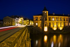 Brassac by night (Marc ALMECIJA) Tags: brassac tarn night nuit orange pont bridge long pose fil reflets reflections