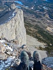 Mt Yamnuska Summit Scramble - Larry's boots with a view (benlarhome) Tags: yamnuska exshaw alberta canada scramble scrambling hike hiking trail path