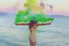 whats goes around comes around (Denis Naccari) Tags: youth wanderlust light sunset girl canon seaside smoke bombs