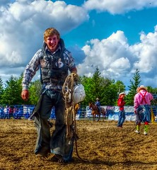 Walkin' Away (ezigarlick) Tags: canada walking rope manitoba rodeo helmut bullfighters bullrider richer walkinaway dawsontrail heartlandrodeoassociation