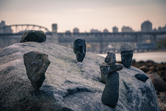 Pure Balance (CWillis) Tags: bridge urban canada vancouver cairn rocksculpture