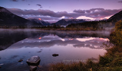 Fire on the Mountain (chasingthelight10) Tags: travel mist canada photography landscapes events places things banffnationalpark canadianrockies vermilionlake
