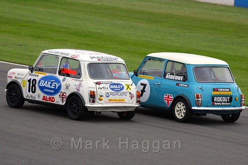 Liam Sullivan passes Steve Rideout in Mighty Minis at Donington Park, October 2015