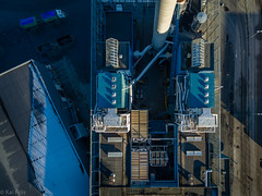 Processing plant III (kaifr) Tags: sun blue grey processing plant birds eye view shadow aerial fall white birdseyeview processingplant oslo norway no fromabove autumn