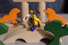 The Jester crosses each bridge when he gets there. (micro.burst) Tags: home fun lego jester lightroom minifigures pentaxks2