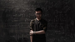 aren't we all equations, in the end? (arclithe) Tags: school light selfportrait writing self dark chalk science human math chalkboard equations