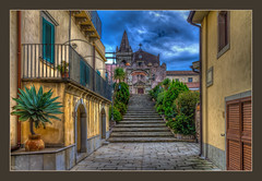 A Picture to Share (Kevin, from Manchester) Tags: architecture building canon1855mm clouds godfather hdr historical italy kevinwalker messina panorama photoborder sicily sky church street steps