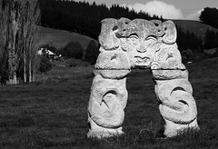 Contemporary Maori Carved Stone Sculpture Gentle Annie Napier - Taihape Road New Zealand (eriagn) Tags: newzealand northisland gentleannie napiertaihaperoad napier taihape maori stone carving taniwha contemporary handcarved rock lichen face paddock field farm farmhouse grass spiral patterns texture ngairehart eriagn ngairelawson photography rural countryside outdoor acial moko curvilinear eyes tongue stylised koru mori maoriart symbolism strength peace newlife growth silverfernfrond sculpture guardian unique