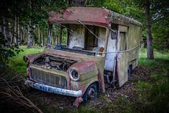 Abandoned truck in a wood near Ardgye, Scotland (vonHabsburg) Tags: scotland schottland truck car lastwagen auto verlassen abandond rotten verfallen wood wald spooky unheimlich decay zerfallen grn green ardgye