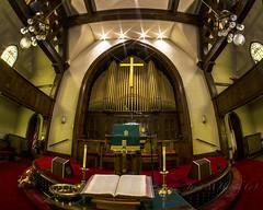 Mayo's Organ (jmhutnik) Tags: church mayomemorialmethodistchurch paintsville kentucky organ bible candles starburst fisheye cross