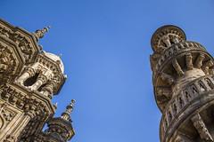 looking up (Tin-Tin Azure) Tags: mahabat maqbara palace mausoleum bahaduddinbhai hasainbhai junagadh gujarat india nawab 18th century chitkana chowk tomb baharuddin bhar blue sky ruin detail architecture