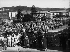138; Royal Visit, parade of military and bands , Parliament Grounds - Jan 1954 (Wellington City Council) Tags: wellington historicwellington 1800s 1900s 1950s
