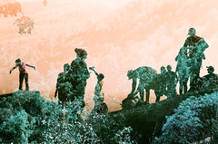 Of The Same Earth (Hayden_Williams) Tags: film analog analogue lomography lomo lomochrometurquoisexr100400 surreal dream dreamy doubleexposure multipleexposure trees forest mountain shenandoah hike people silhouette shadow abstract orange sunset play family friends fun