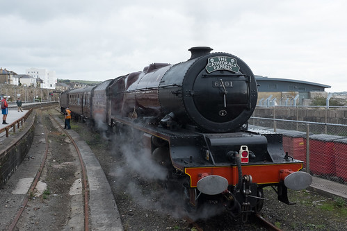 A steam train at Penzance station