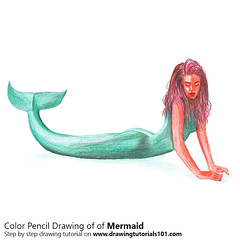 Mermaid with Color Pencils (drawingtutorials101.com) Tags: mermaids aquatic creatures legendary fish tail female human sketching pencil sketch sketches drawing draw speeddrawing timelapse timelapsevideo coloring color how