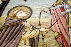 St Dominic receives the Rosary (Lawrence OP) Tags: embroidery stone dominican sisters staffordshire vestments rosary banner ourladyoftherosary stdominic