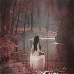 Mistress of the Lake ('_ellen_') Tags: mistress lake lady water petals trees red hair black white reflection