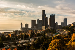 Seattle   |   Autumnal Skyline (JB_1984) Tags: skyline cityscape view vista skyscraper tower motorway highway freeway interstate5 i5 traffic clouds colour autumn fall trees foliage northbeaconhill seattle kingcounty washington wa usa unitedstates