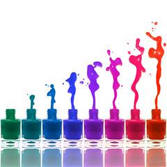 polish blast (brescia, italy) (bloodybee) Tags: 365project nails polish varnish makeup bottle glass colors rainbow stilllife reflection mirror drops white square explore
