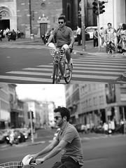 [La Mia Citt][Pedala] con il BikeMi (Urca) Tags: milano italia 2016 bicicletta pedalare ciclista ritrattostradale portrait dittico bike bicycle nikondigitale mir biancoenero blackandwhite bn bw 89837 bikemi bikesharing