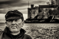 The ferryman (David Feuerhelm) Tags: monochrome sepia outdoors protrait nikkor river chatacter sky dartmouth devon nikon d7100