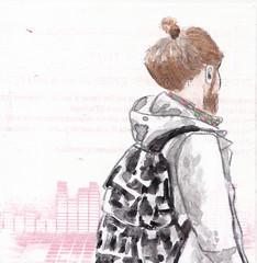 # 330 (25-11-2016) (h e r m a n) Tags: jongen jongeman boy youngman bun knotje herman illustratie tekening bock oosterhout zwembad 10x10cm 3651tekenevent tegeltje drawing illustration karton carton cardboard beeldbad