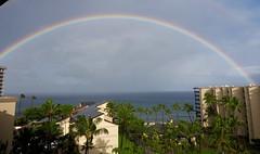 Rainbow from Kaanapali Shores (piranhabros) Tags: rainbow clouds sea ocean maui kaanapali hawaii palmtrees resort