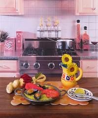 Grandma's European Kitchen # 2 (MurderWithMirrors) Tags: rement miniature food mwm seafoodpaella garlic pitcher flower plate clam prawn shrimp rice pan pepper