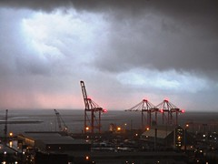 Bootle Weather! (White Pass1) Tags: weather blackclounds hail thunder snow portofliverpool peelports liverpool2 cranes dawn sunrise