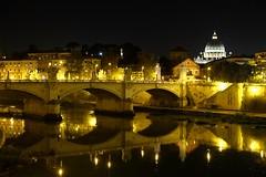 Rome night view (linwujin) Tags: rome italy river bridge evening europe euro fujifilm xt1 xf1655 light st peters vaticano cupola church night badilica tevere luce sera vita acqua