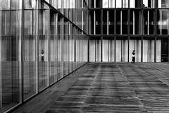 By going away (pascalcolin1) Tags: paris13 bnf reflets reflection femme woman vitres windows photoderue streetview urbanarte noiretblanc blackandwhite photopascalcolin