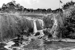 Falls (tspottr723) Tags: paterson great falls passaic river nj bw landscape waterfall bridge new jersey nikon d7100 18200 flag black white water