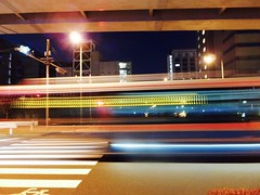 this is a bus! (Hero Yama) Tags: tokyo japan night bus light flash colorful color road abstract effect