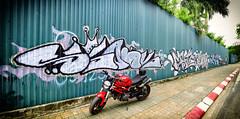 Monster 795 (Tài Trần) Tags: motorcycle graffiti ducati monster 795 helmet wall biker motorbike