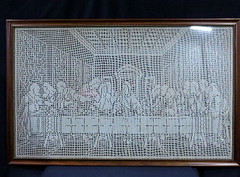 SEWING:  Large crocheted Last Supper scene.