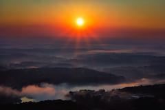 Milestone (axi11a) Tags: atl atlanta localparks parks sunrise sunset clouds mist fog sun flare