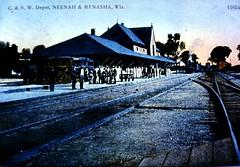 P-90-Da-018 (neenahhistoricalsociety) Tags: cnw railroads station postcards depots chicagonothwestern