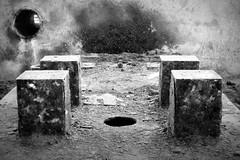 (Delay Tactics) Tags: urban bw white black four 4 rusty holes explore exploration ue urbex coalite