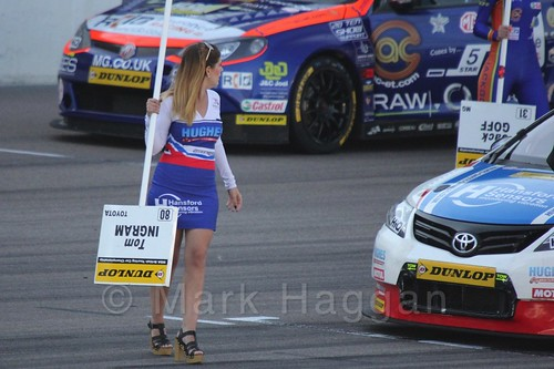 Tom Ingram on the BTCC grid at Rockingham 2015