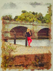 The girl by the river (Thanks a million everyone! -Leigh) Tags: girl river riverthames kingstonuponthames painterly textured leighkempphotoart