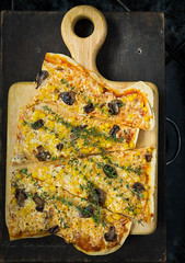 pizza on cutting board (beppelena) Tags: cheese corn mediterranean pizza indoors foodanddrink cheddar thyme cuttingboard foodphotography readytoeat foodstyling elenabottaphotography