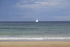 105. St Combs Beach (GraynKirst) Tags: blue sea sky white seascape beach water clouds sailboat landscape coast scotland boat seaside sand scenery surf waves aberdeenshire yacht tide horizon shoreline azure coastal shore northsea sail coastline seagreen stcombs kirstyjarman