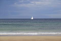 105. St Combs Beach (GraynKirst) Tags: blue sea sky white seascape beach water clouds sailboat landscape coast scotland boat seaside sand scenery surf waves aberdeenshire yacht tide horizon shoreline azure coastal shore northsea sail coastline seagreen stcombs kirstyjarman