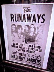 The Runaways, San Francisco, CA (Robby Virus) Tags: show sanfrancisco california new blue music west ford beach gardens poster concert flyer sandy north broadway joan wave jett vicki currie cherie lita runaways mabuhay