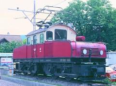 Former Albtalbahn electric loco at Ettlingen Stadt in 1981 (Tom Burnham) Tags: electric germany deutschland loco 1980s karlsruhe narrowgauge ettlingen elok albtalbahn meterspur