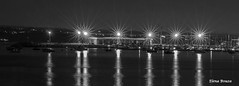 Lights at night in black and white (Elena Bouza Pena) Tags: sea luces mar agua barcos galicia nocturnas puertos portos concellos
