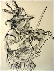 Fiddler Bobby (Kerry Niemann) Tags: musician apachejunction pencilportrait