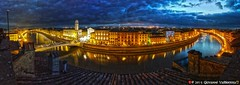 Panorama of Pisa (Giovanni V.) Tags: italy panorama river hotel italia fiume victoria pisa arno hdr