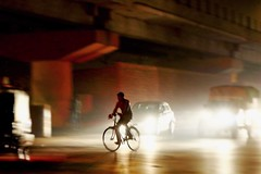 Night cyclist in Varanasi, India (jafsegal) Tags: street india cars bicycle lights luces moving movement traffic lumire ciudad trfico roads jam calles destellos instantfave